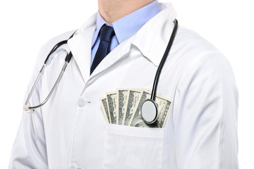 A portrait of a male doctor with  money in his pocket