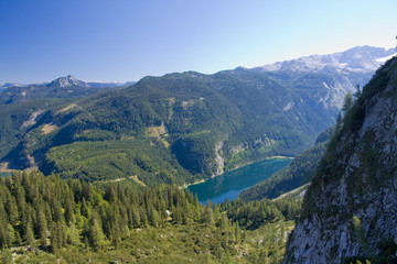 alpine lake scenery in the summer