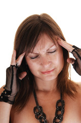Girl has big headache.