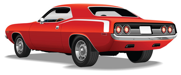 Red 1970's Muscle Car