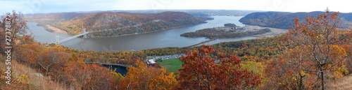 Bear Mountain Autumn panorama aerial view