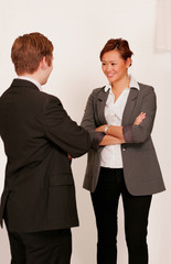 Business people in conversation or small talk