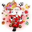 Babbo Natale in Scooter-Santa Claus Cartoon Scooter-Vector