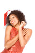 Friendly ethnic Mrs Santa Claus wearing hat