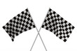 finishing checkered flag on white background. Isolated 3D image
