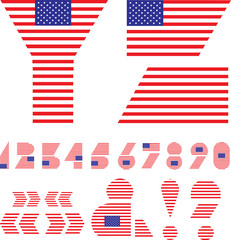letters Y, Z, numbers and signs - American flag alphabet