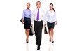 Business team three people walking