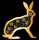 Golden zodiac rabbit symbol