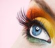 Women eye make-up with flower