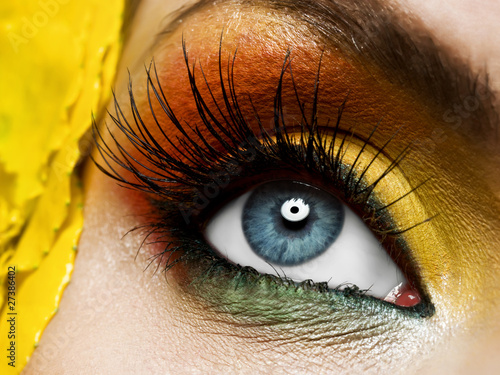 Yellow  eye make-up with flower