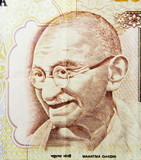 Mahatma Gandhi on 500 rupees banknote from India