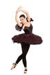 Full length portrait of a ballerina dancer making a ballet