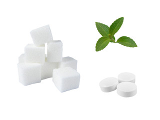 Lump Sugar, Stevia And Pills Isolated On White Background