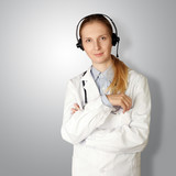 doctor woman with headphones smile at camera