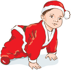 Christmas Dwarf, baby in Santa costume creeping