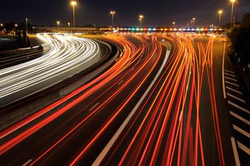 circulation autoroutière de nuit