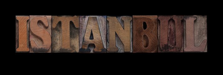 the word Istanbul in old letterpress wood type