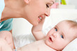 happy mother with cute newborn baby