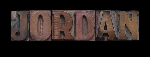 the word Jordan in old letterpress wood type