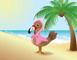 Thanksgiving Turkey pretending to be a flamingo poster