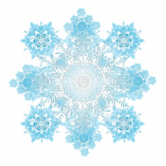 Big lacy snowflake on white