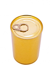 Yellow beer can isolated on the white