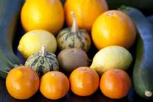 Świeże warzywa i owoce: brokuł, Dynia, kiwi, cytryny, cukinia
