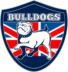 english bulldog marching wth union jack in shield
