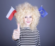 Girl with European Union and Poland flag on head show OK