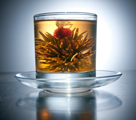 cup with blooming flower green tea
