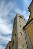 Belfry old Lutheran Church. The town of Motovun, Croatia poster