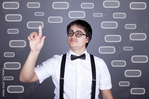 Men in suspender with bow tie and glasses show visual plate.