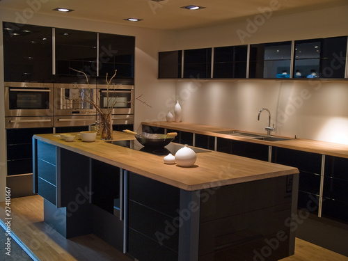 Modern trendy design black wooden kitchen - 27410667