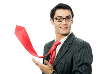 Happy smiling successful businessman with raised red tie