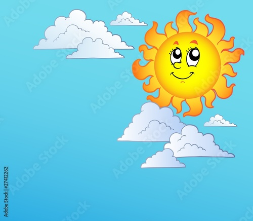 cartoon sun and clouds. Cartoon Sun with clouds on