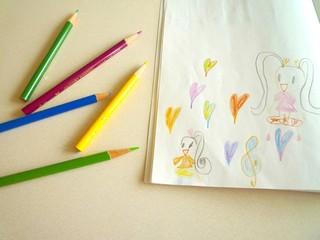 子供が書いた絵(色鉛筆画)