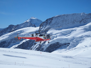 Flying Helicopter at Jungfrau Top of Europe Switzerland