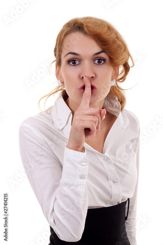 woman making silence sign