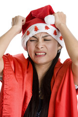 disappointed woman with santa claus hat