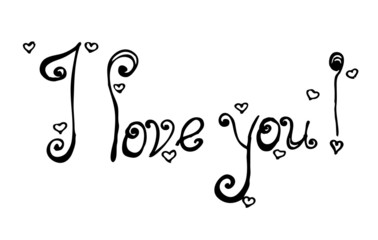 i love you text in handwriting