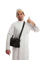 Ethnic man thumbs up approval