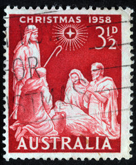 AUSTRALIA - CIRCA 1958 : A greeting Christmas stamp