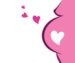 Pregnant Woman Icon With Heart (pink). VECTOR ILLUSTRATION
