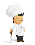 Cartoon chef cook in white hat with knife