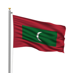 Flag of Maldives waving in the wind in front of white background