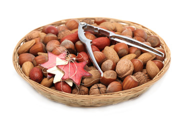 Christmas basket with nuts and nutcracker