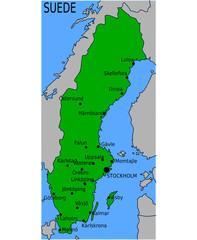 Carte des Villes Principales de Suède