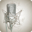 Quadro Professional Microphone & floral ornament - vector