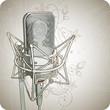 Quadro Professional Microphone & floral ornament - vector