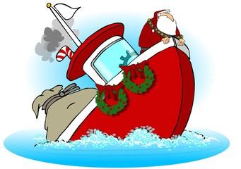Santa On A Sinking Boat